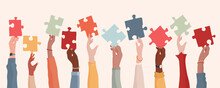 Autism Syndrome Concept. Group Of Raised Arms Of Diverse People Holding A Jigsaw Piece. Learning Support And Education. Neurological Disease. Mind And Brain. Sharing. Conceptual