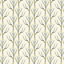 Seamless Pattern Of Colored Dry Wooden Twigs. Minimalistic Design. Scandinavian Endless Ornament. Hand-drawn Watercolor Illustration Of Branches On A Beige Background. For Wallpaper, Textile, Wrapping