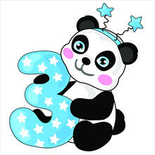 The Cute Panda Is Holding The Number Three For Boy. Illustration For The First Birthday.  Cake Topper Print. Vector Illustration Isolate. Print For T-shirts And Sweatshirts.