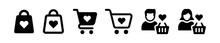 Shopping Cart Or Trolley With Heart Love Shape Icon. Shopping Lover.