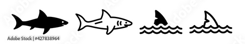 Fotografie, Obraz Set of shark and fin vector illustration isolated icons.