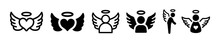 Angels Wings Spread, Christmas Angel Icon Vector Illustration Set.