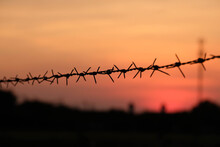Close-up Of Silhouette Barbed Wire Fence Against Sky During Sunset