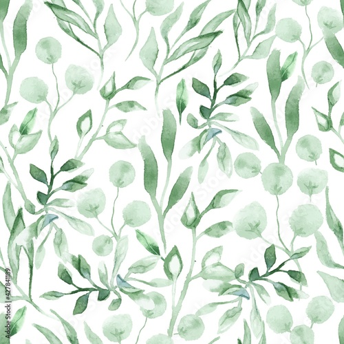 Fototapeta Watercolor seamless pattern with green leafs and branches. Hand drawn summer textile decoration botanical floral illustration. obraz