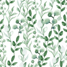 Watercolor Seamless Pattern With Green Leafs And Branches. Hand Drawn Summer Textile Decoration Botanical Floral Illustration.