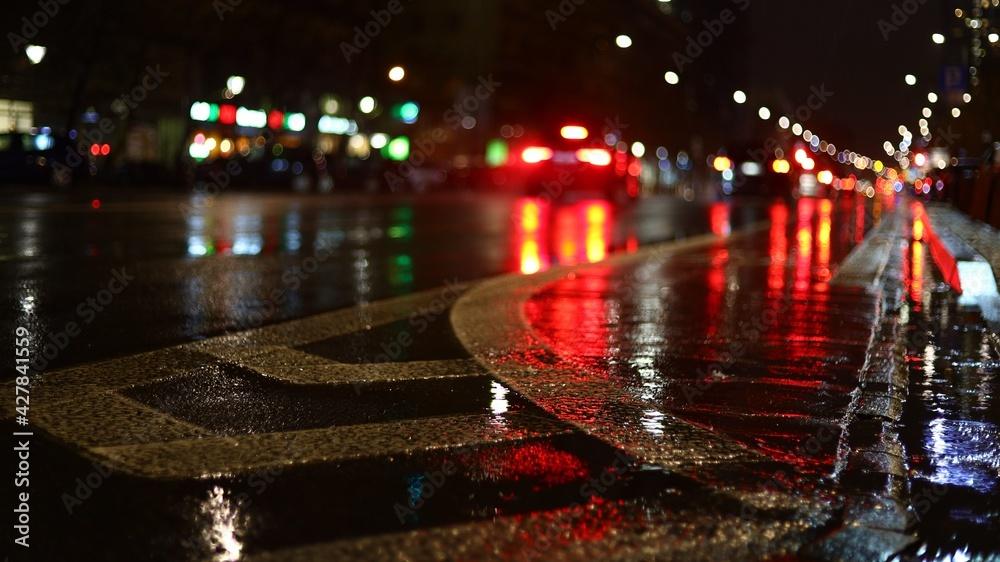 Fototapeta Ulica w mieście po deszczu