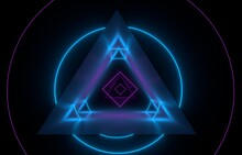 Laser Illumination On Black Stylу Esoteric Ornaments. Fractal Geometry Object With Light Mystic Glow Line. Emission Magic Portal  Triangle Effects. 3d Rendering