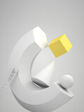 Fototapeta Konie - Abstract still life installation, levitating white geometric shapes