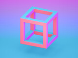 Fototapeta Konie - Colorful cube frame over blue pink gradient background, 3d