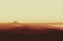 Scenic View Of Silhouette Mountains Against Clear Sky During Sunset In Alicante