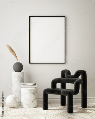 mock up poster frame in modern interior background, living room, Art Deco style, 3D render, 3D illustration