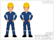 Set Of Industrial Worker With Arms Akimbo On White Background