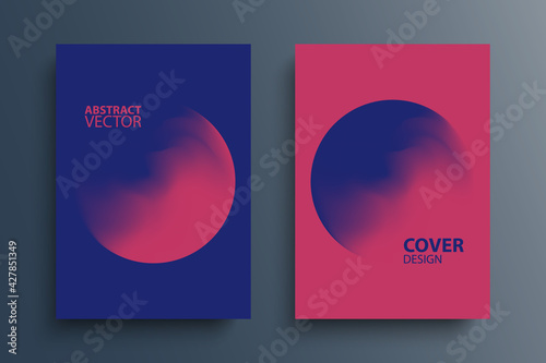 Brochure cover template layouts with gradient orbs round shapes. Futuristic abstract backgrounds with color gradient for your graphic design. Vector illustration. - fototapety na wymiar