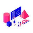 Maths Education Isometric Concept With 3D Shapes Illustration