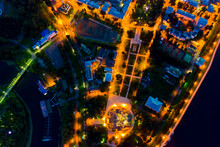 Yaroslavl, Russia. Strelka (Spit). Upper Park, Assumption Cathedral. Aerial View At Night