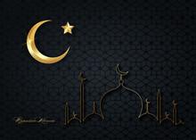 Ramadan Kareem 2021 Banner Black Night Sky Background Vector Design Illustration. Gold Muslim Mosque  Skyline, Golden Half Moon And Shiny Star,  Religious Symbols