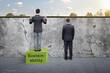 Leinwandbild Motiv Clever man building on sustainability - awareness metaphor