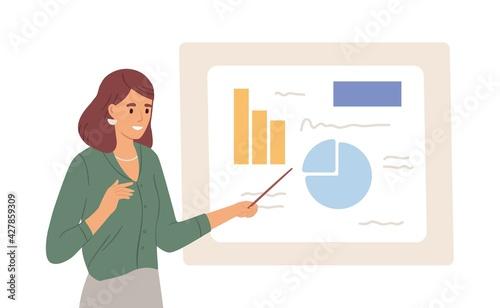 Fotografie, Obraz Female speaker pointing at presentation on white board during business seminar