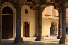 Hall With Columns Of Sattais Katcheri At Amer Fort Is Located In Amer, Not Far From Jaipur, Rajasthan State, India.