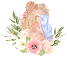 Mother's Day. Mother And Daughter Back With Flowers In Pink Dresses. Parents And Child Hug