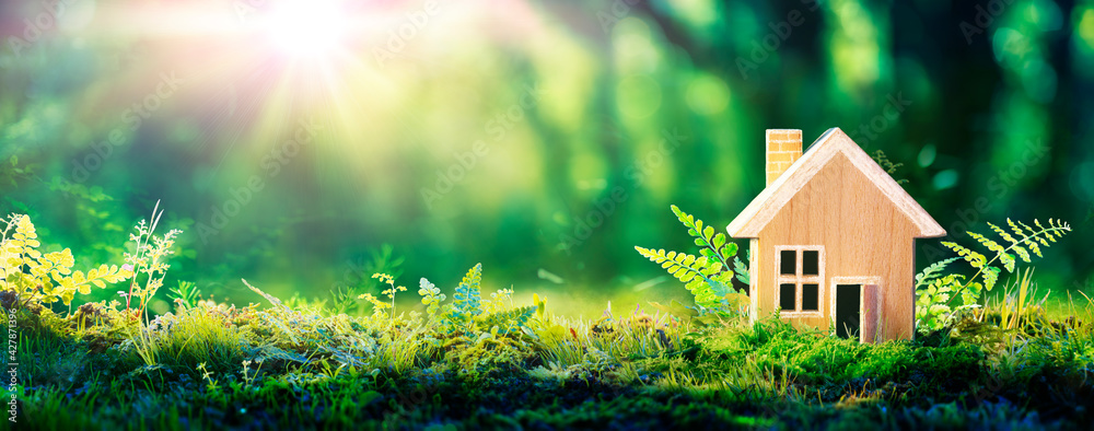 Fototapeta Eco House In Green Environment - Wooden Home Friendly On Grass