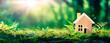 Leinwandbild Motiv Eco House In Green Environment - Wooden Home Friendly On Grass