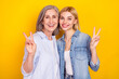 Leinwandbild Motiv Photo portrait of happy granddaughter cheerful granny smiling showing v-sign gesture isolated vivid yellow color background