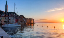 Picturesque Seaside Town Of Rovinj At Sunset, Golden Hour.