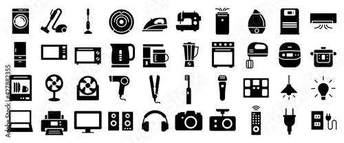Fotografie, Obraz Home appliances vector icon 家電アイコンセット