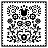 Fototapeta Kuchnia - Floral monochrome folk art vector design in square frame from Nowy Sacz in Poland inspired by traditional highlanders embroidery Lachy Sadeckie