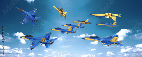 Fotografie, Obraz 3d Kunstflug, Formationsflug mit Kampfjet am Himmel