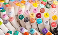 Many Colorful Markers With Color Description. Colorful Felt Tip Pens. Permanent Palette Of Pens. Art Education Background.