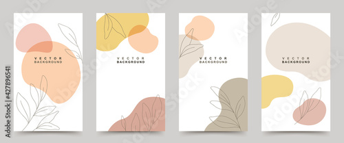 Vector set of background templates with  trendy colored shapes and minimal hand drawn leaves in line art.Illustration for posters,invitation and social media stories and posts,cover.