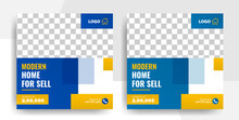 Modern Real Estate Property Flyer Template, Home For Sale And Living Real Estate Social Media Banner Post Template Vector