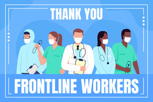 Medical Workers Social Media Post Mockup. Thank You Frontline Workers Phrase. Web Banner Design Template. Covid Booster, Content Layout With Inscription. Poster, Print Ads And Flat Illustration