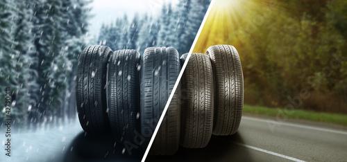 Fotografie, Obraz Set of new winter and summer tires on asphalt road, collage