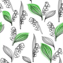 Lilies Of The Valley And Leaves Pattern Outline Black White No Color Neutral Beautiful Stylish Modern Design Monochrome White Black Outline