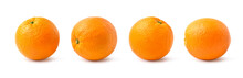 Collection Of Four Orange Fruits Isolated On White Background. Clipping Path.