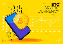Vector Illustration Of A Bitcoin Gold Coin In A Mobile Phone, Payment In Btc Cryptocurrency