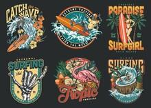 Surfing Vintage Colorful Labels