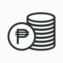 Philippine Peso Icon. Money Outline Vector Illustration. Pile Of Coins Icon Isolated On White Background. Stacked Cash. Philippine Currency Symbol.