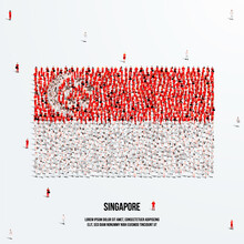 Singapore Flag. A Large Group Of People Form To Create The Shape Of The Singaporean Flag. Vector Illustration.