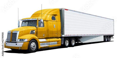 Obraz na plátně Big american truck with yellow cab isolated on white background.
