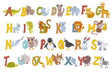 Animal Alphabet Vector Set With English Letters From A To Z, Isolated On White Background. Funny Hand Drawn Style Characters. Learn Kids To Read With Different Cute Toys Collection In Vector