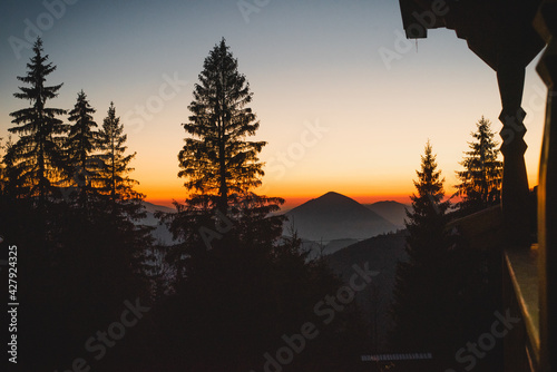 Canvas Print Mountain Peak At Sunset