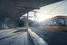 Motion-blurred View Of Incoming Train In Modern Subway Station, Stuttgart Staatsgalerie