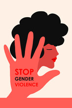 Stop Domestic Violence. A Girl With Black Hair On The Background Of A Hand With An Inscription Against Violence. The Concept Is Intended For A Crisis Care Center Or For The Protection Of Women S