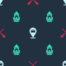 Set Crossed Medieval Spears, Location King Crown And Castle Tower On Seamless Pattern. Vector