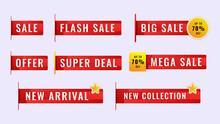 Sale Sticker Label Tag Collection Template. Set Label Promotion Banner. Vector Illustration.