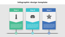 Set Lighthouse, Sailor Hat And Starfish. Business Infographic Template. Vector